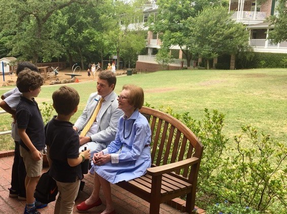 Marie Fay on campus visiting with students in Fall 2018