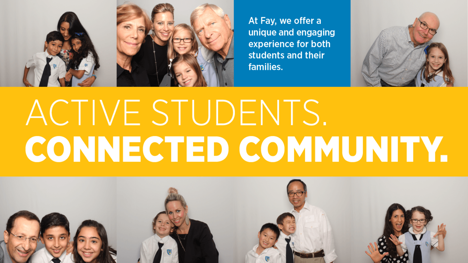 Homepage slider of Fay's active and connected community beyond just students and teachers.